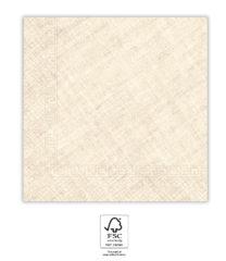 Solid Color Compostable - Creme Textile Three-Ply Paper Napkins 33x33 cm. FSC. - 93658