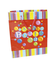 Everyday Paper Gift Bags - Gift Paper Bag 265x135x340 Happy Birthday Red - 5382