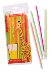 Drinking Straws - Fluorescent Individually Cello Wrapped Straws With Perforation For Easy Opening 24 Cm X 5 Mm