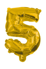 Numeral Foil Balloons - 85 cm Gold Foil Balloon No. 5 - 91189