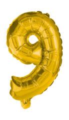 Numeral Foil Balloons - 85 cm Gold Foil Balloon No. 9 - 91193
