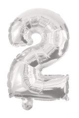 Numeral Foil Balloons - 85 cm Silver Foil Balloon No. 2 - 91196