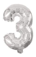 Numeral Foil Balloons - 85 cm Silver Foil Balloon No. 3 - 91197