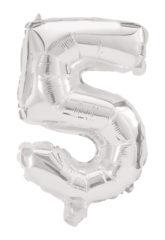 Numeral Foil Balloons - 85 cm Silver Foil Balloon No. 5 - 91199