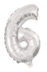 Numeral Foil Balloons - 85 cm Silver Foil Balloon No. 6 - 91200