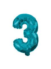 Numeral Foil Balloons - 32 cm Blue Foil Balloon No. 3 - 91221