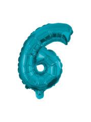 Numeral Foil Balloons - 32 cm Blue Foil Balloon No. 6 - 91225