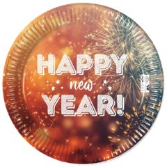 Happy New Year  - Industrial Compostable Paper Plates 23 cm FSC - 91464