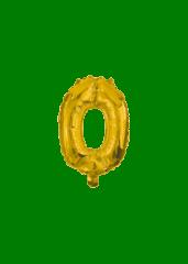 Numeral Foil Balloons - 10 cm Gold Foil Balloon No. 0 - 91558