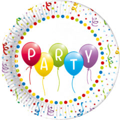 Balloons Party - Paper Plates 23 cm No Plastic Lamination FSC - 91946