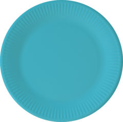 Solid Color New Generation - Turqoise Paper Plates 23 cm With No Plastic Lamination FSC - 92083