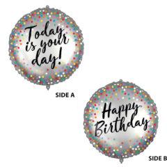 Shaped Foil Balloons - Dual Faced Happy Birthday Foil Balloon 46 cm. - 92437