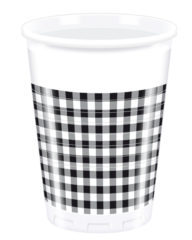 Red, Green, Yellow, Black, Blue Squares - Plastic Cups 200ml Black Squares