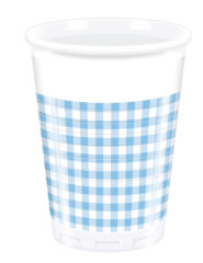 Red, Green, Yellow, Black, Blue Squares - Plastic Cups 200ml Blue Squares