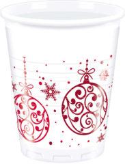 Xmas Red Balls - Plastic Cups 200ml
