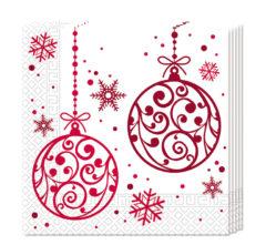 Xmas Red Balls - Three-ply Paper Napkins 33x33cm