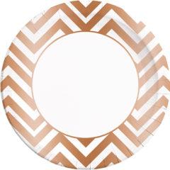 Gold, Rose Gold & Copper - Copper Chevron Paper Plates Large 23cm - 89545
