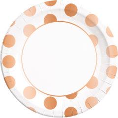 Gold, Rose Gold & Copper - Copper Dots Paper Plates Large 23cm - 89542