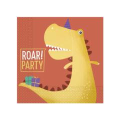 Decorata™ Compostable Dinosaur Roar - Home & Industrial Compostable Three-ply Paper Napkins 33x33cm - 91505