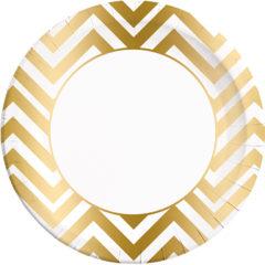 Gold, Rose Gold & Copper - Gold Chevron Paper Plates Large 23cm - 89543