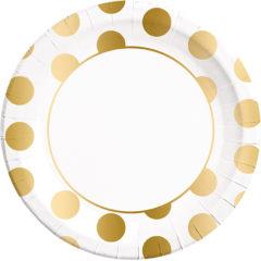 Gold, Rose Gold & Copper - Gold Dots Paper Plates Large 23cm - 89540