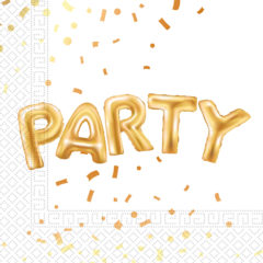 Gold Party - Three - Ply Embossed Paper Napkins 33 x 33 cm - 89640