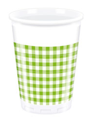 Red, Green, Yellow, Black, Blue Squares - Plastic Cups 200ml Green Squares