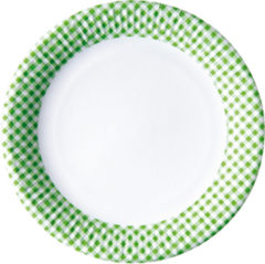 Red, Green, Yellow, Black, Blue Squares - Paper Plates Large 23 Cm Green Squares