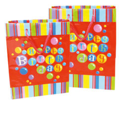 Everyday Paper Gift Bags - Gift Paper Bag 265x135x340 Happy Birthday Red