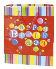 Everyday Paper Gift Bags - Gift Paper Bag 300x120x410 Happy Birthday Red - 5384