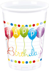 Happy Birthday Streamers - Plastic Cups 200ml