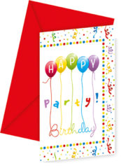 Happy Birthday Streamers - Invitations & Envelopes