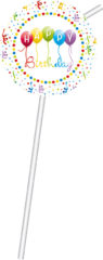 Happy Birthday Streamers - Medallion Flexi Drinking Straws