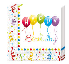 Happy Birthday Streamers - Two-ply Paper Napkins 33x33cm