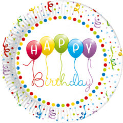 Happy Birthday Streamers - Paper Plates Large 23cm