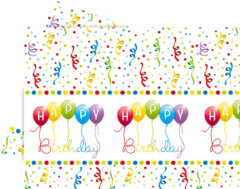 Happy Birthday Streamers - Plastic Tablecover 120x180cm