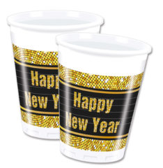 Happy New Year Retro - Plastic Cups 200ml