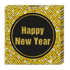 Happy New Year Retro - Three-ply Paper Napkins 33x33cm