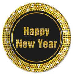 Happy New Year Retro - Paper Plates Large 23cm Metallic