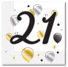 Milestone - Three-ply Paper Napkins 33x33cm Age 21