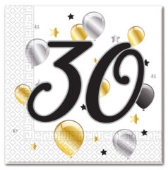 Milestone - Three-ply Paper Napkins 33x33cm Age 30