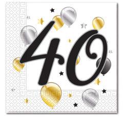 Milestone - Three-ply Paper Napkins 33x33cm Age 40