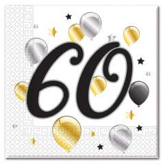 Milestone - Three-ply Paper Napkins 33x33cm Age 60