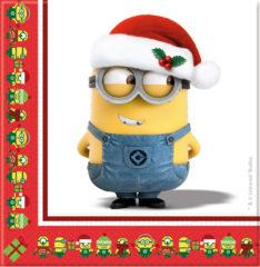 minions christmas two ply paper napkins 33x33cm 87205 - Minions Christmas