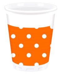Orange Dots - Plastic Cups 200ml