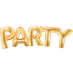 "Foil Balloons - Gold ""Party"" Foil Balloons  - 89653"