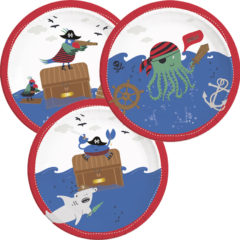 Pirates In The Sea - Paper Plates Large 23 cm (3 Mixed Designs) - 90243