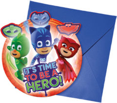 Pj Masks - Die-cut Invitations & Envelopes