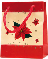 Christmas Paper Gift Bags - Gift Paper Bag 114x63x146 Poinsettia