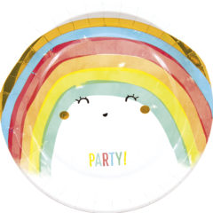 Rainbow Party - Paper Plates Metallic Large 23cm - 90590